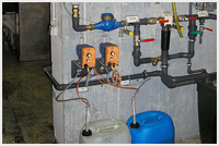 Conductivity controlled desalination and dosing unit