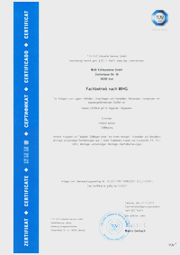 Certification for specialist according to the german water resources law